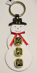 SNOWMAN w/ SCARF DOOR CHIME - HAND CUT LEATHER with 3 BRASS SLEIGH BELLS