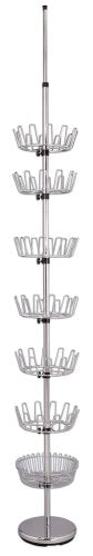 Household Essentials 2199 Floor to Ceiling Revolving Shoe Rack | Adjustable Baskets Hold 36 Pairs | Chrome