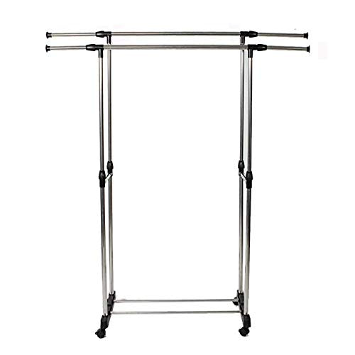 WAJJ Rolling Clothes Rack Adjustable Double Rail Garment Rack,Dual-bar Vertically & Horizontally-Stretching Stand Clothes Rack with Shoe Shelf Silver