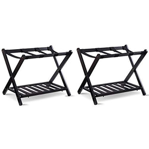 "AyaMastro 2Pcs Black 26.4"" Foldable Luggage Rack Storage w/Bottom Shelf with Ebook"