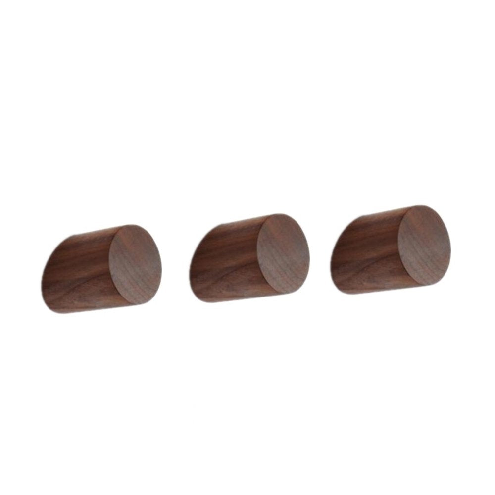 3Pcs Black Walnut Natural Wooden Coat Hooks Hineway Wall Mounted Single Wall Hook Rack Decorative Craft Clothes Hooks Utility Hook Rack Organizer Hanger Hanging Coat Hat Bags
