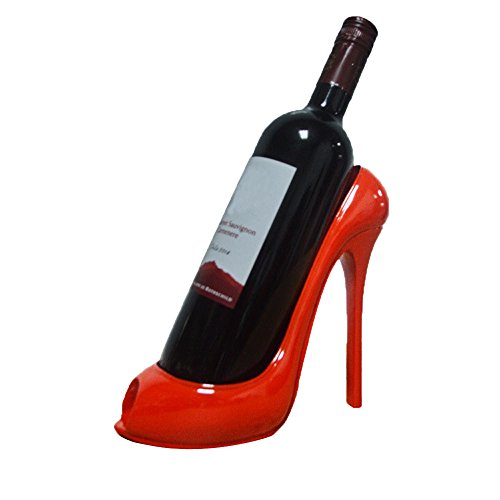UONQD Wine Rack High Heel Shoe Bottle Holder Storage Wedding Party Decor Ornament Gift (20.5L18W1H(cm), Red)