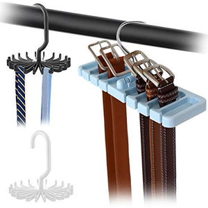 DaKuan 2 Pack Adjustable Twirling Tie Hanger and 1 Pack Belt Rack, Tie Holder (Black and White) and Sturdy Plastic Belt Hanger (Blue) for Closet Organizer Storage