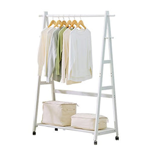 Floor Standing Coat Rack with Pulley, Clothes/Hat/Shoe Storage Rack Clothing Shelf Multifunction Solid Wood Hangers Single Rod Type,3 Hook,60/80/100cm 3, Brown and White