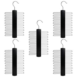 Nicholas Winter 20 Bar Wooden Tie/Belt/Scarf Hangers with Chromes - Black - Pack of 5