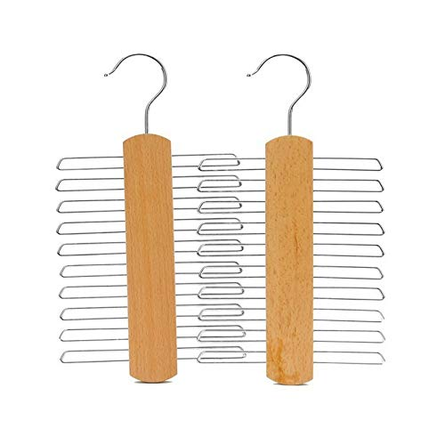 Wagsuyun Natural Beech Wood Multifunctional Accessories Hangers for Ties and Belts 2 Pack (Color : Yellow)
