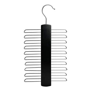 Nicholas Winter 20 Bar Wooden Tie/Belt/Scarf Hanger with Chrome Hooks - Black