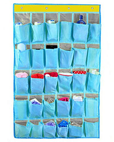 30 Pockets Durable Oxford Fabric Dorm Room Over Wall Door Closet System Organizer Shoes Hanging Storage Bag Cellphone Books Garage Shelf Rack Holder,4 Metal Hooks