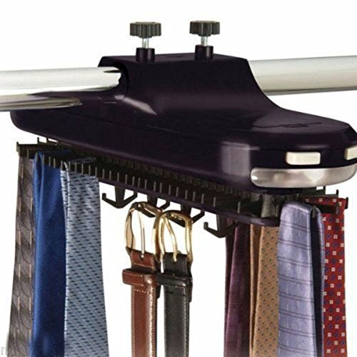 64 pic Hanger Hang Organizer Tie Belt Necktie rotates Closet Mounted Rack Holder