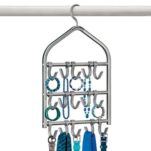 Lynk Double Sided Scarf Hanger - Belt, Hat, Jewelry, Accessory Holder - 15 Hook Closet Organizer Rack - Platinum