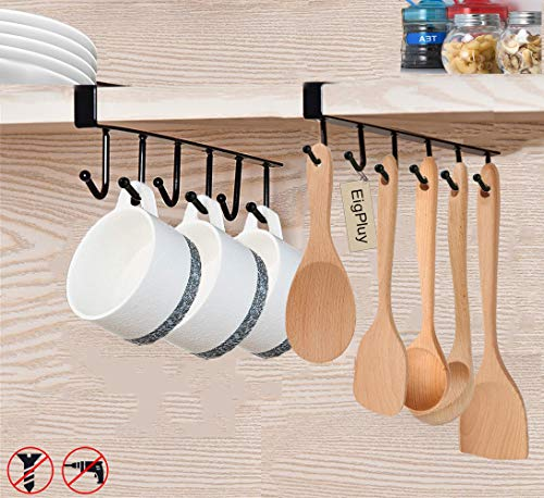 EigPluy Mug Holder 6x2 Hook Under Cabinet Mug Hooks Cups Rack Nail Free Coffee Cups Holder Kitchen Utensil Storage Holder Ties Belts Scarf Hanging Hooks Rack,Sagging Protection Accesories Include