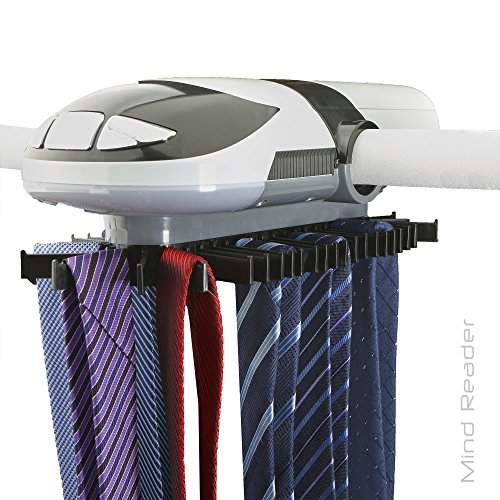Mind Reader Automatic Motorized Revolving Tie and Belt Rack with Built in LED Light, Closet Organizer