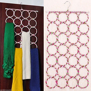 EE New 28 Ring Slots Hole Design Scarf Belt Tie Hanger Closet Organizer Holder Hook