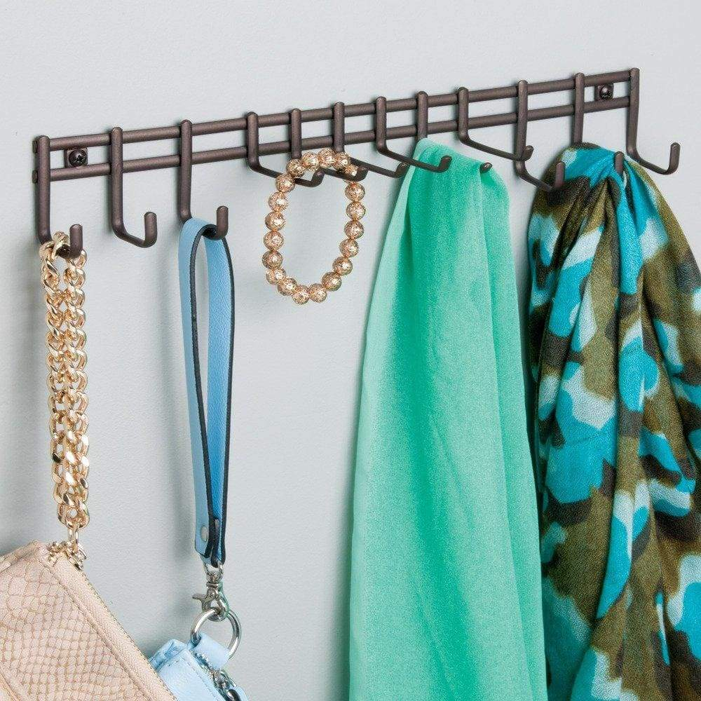 InterDesign Axis Wall Mount Closet Organizer Rack for Ties, Belts - Bronze