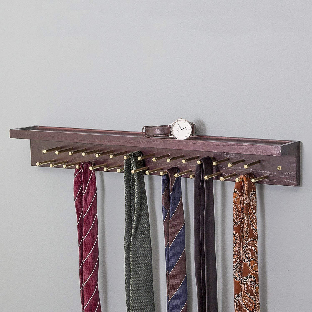 Erik Aleksi Interiors Solid Mahogany Tie and Belt Rack (with Top Shelf for Accessories)