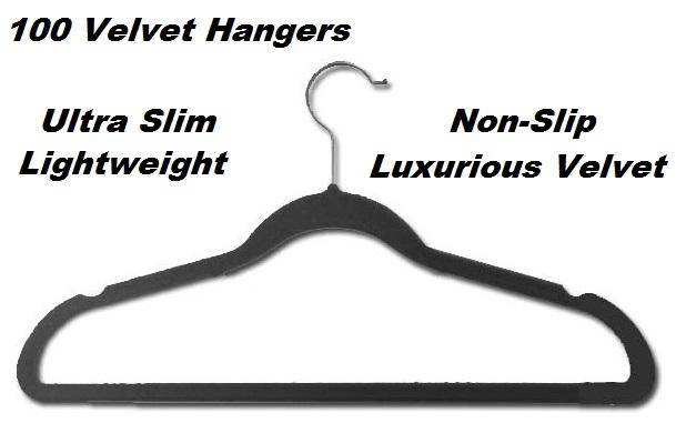 100 Black Space Saving Velvet Coat Hangers