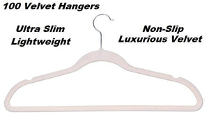 100 Beige Space Saving Velvet Coat Hangers
