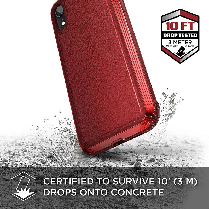 X-Doria Defense Lux for iPhone XR (Red Leather)