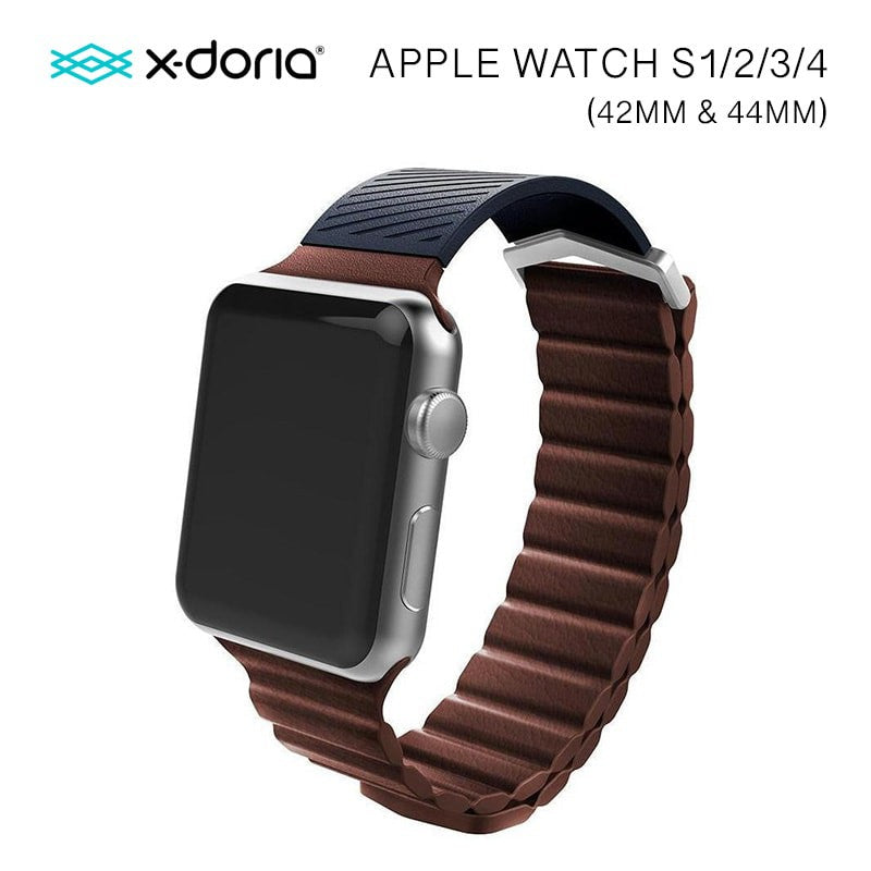 X-Doria 42mm & 44mm Leather Hybrid Band for Apple Watch  (Brown)