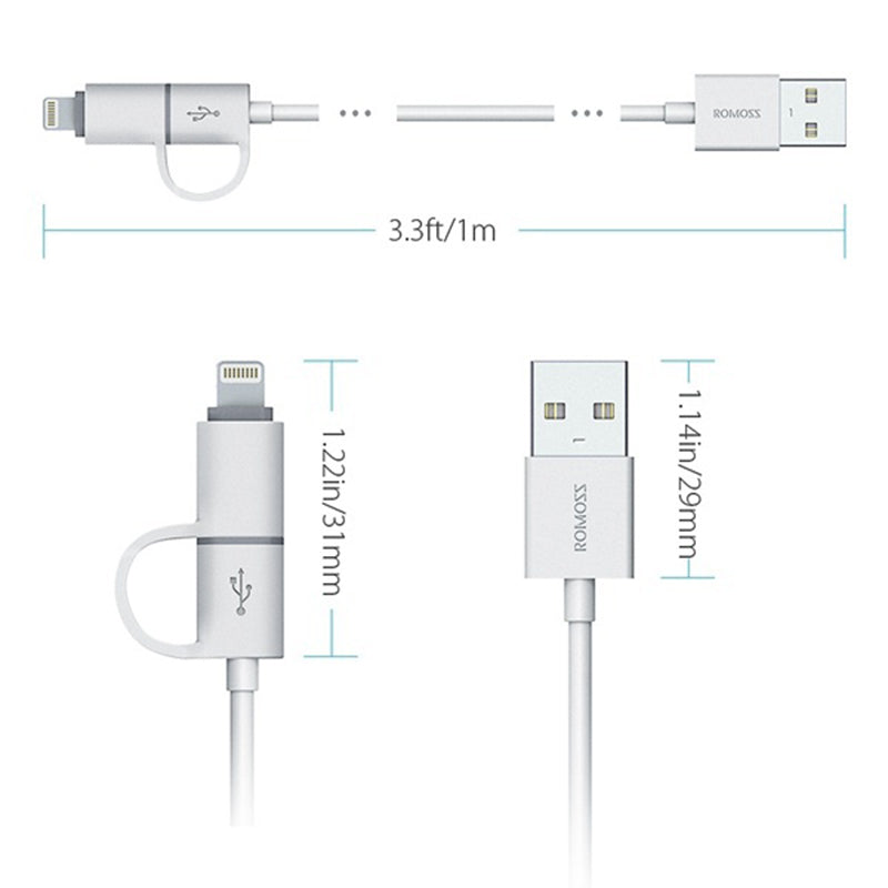 Romoss 2-in-1 Lightning & Micro USB Cable