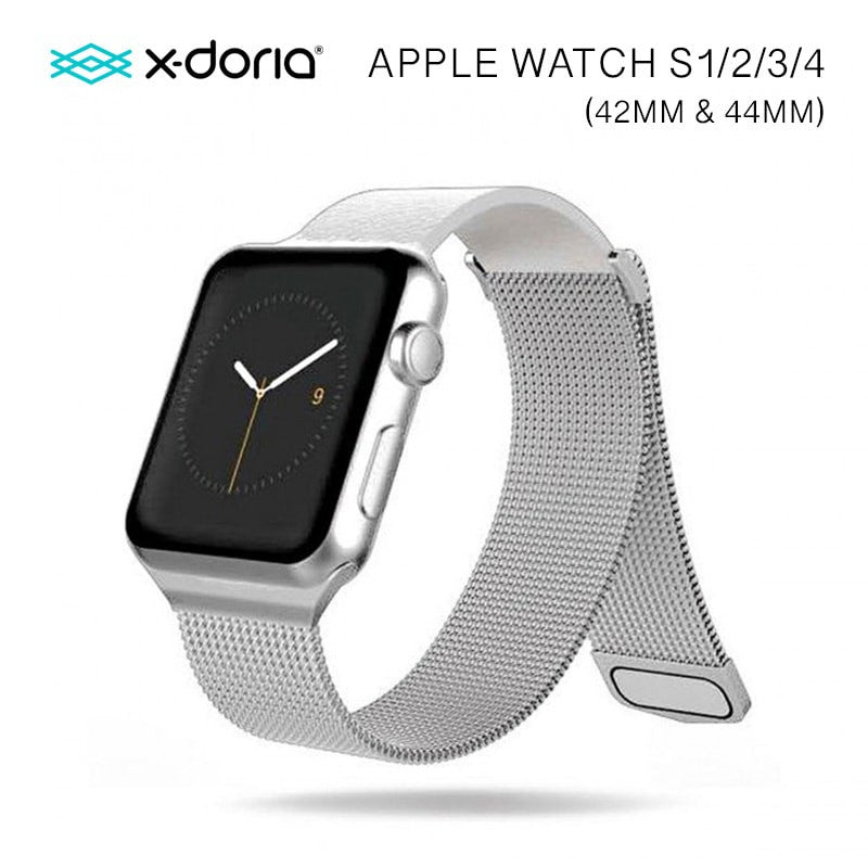 X-Doria 42mm & 44mm Mesh Hybrid Band for Apple Watch  (Silver)