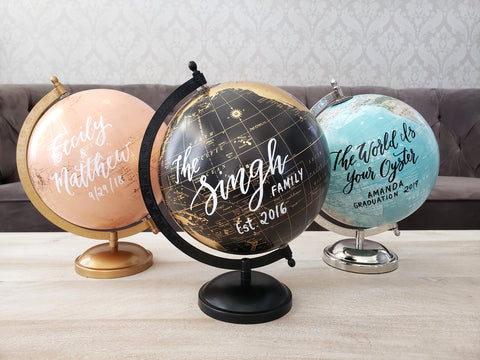 Personalized Calligraphy World Globes