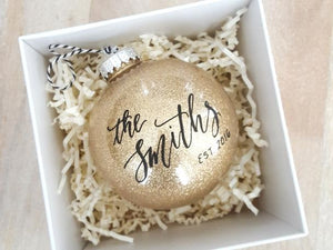 newlywed established christmas ornament