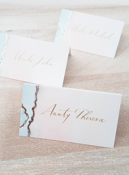 Geo Tented Place Cards with Gold Calligraphy