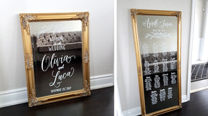 Mirror Seating Chart and Welcome Sign