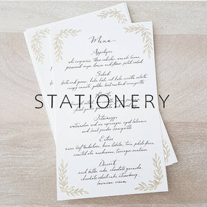 Wedding menu stationery in calligraphy