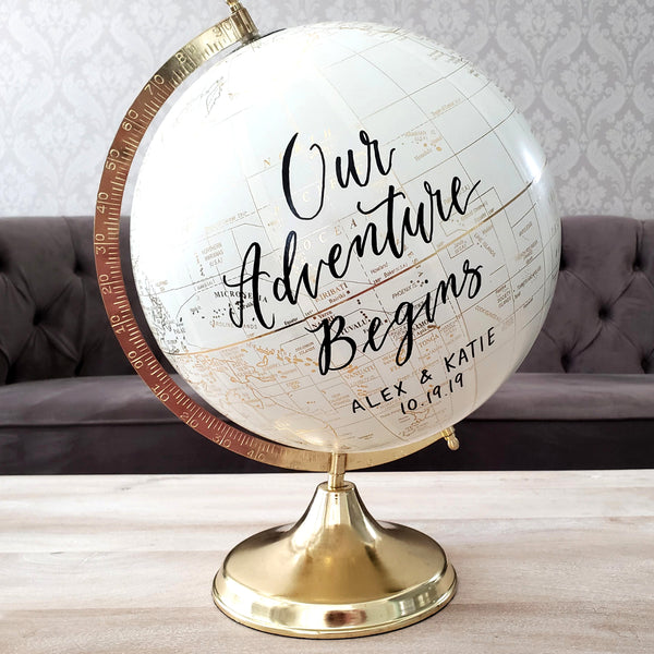 Large 12 inch guest book globe for wedding