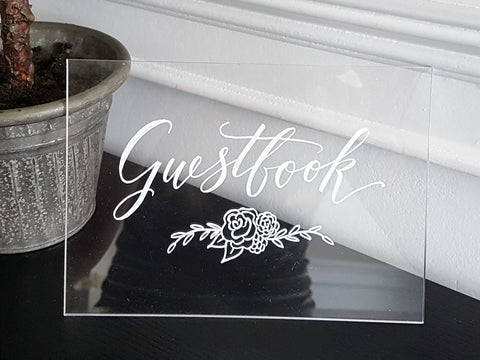 acrylic sign for wedding guest book