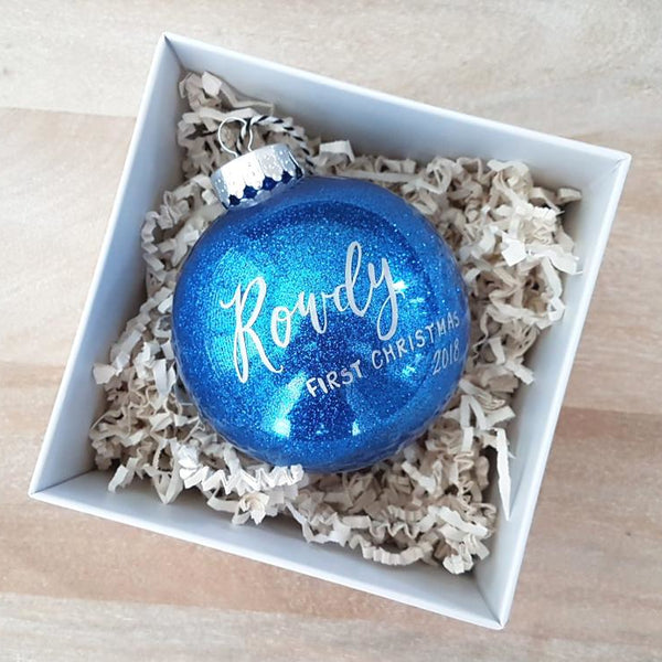 Blue Baby's first christmas ornament