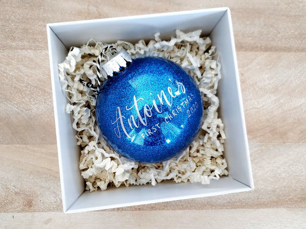 Blue Glitter Baby's First Christmas Ornament