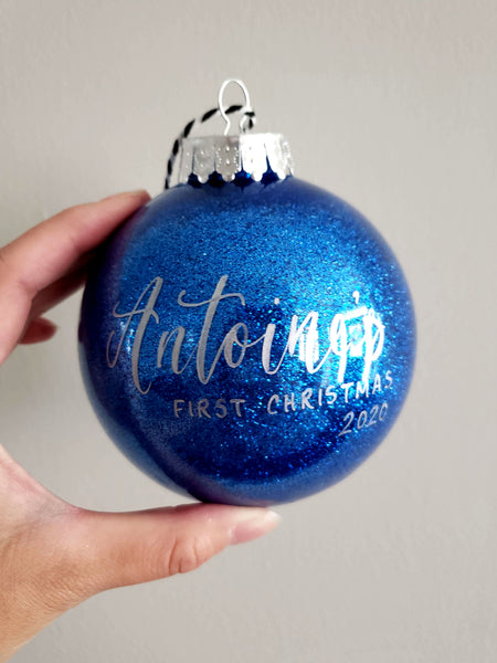 Blue Glitter Baby's First Christams Ornament
