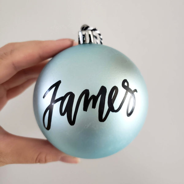 "3.25"" Personalized Light Blue Bauble"