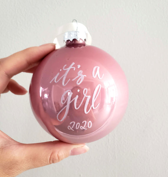 "3.25"" Glass Pink or Blue Ornament"