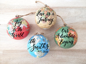 "3.25"" World Globe Ornament"