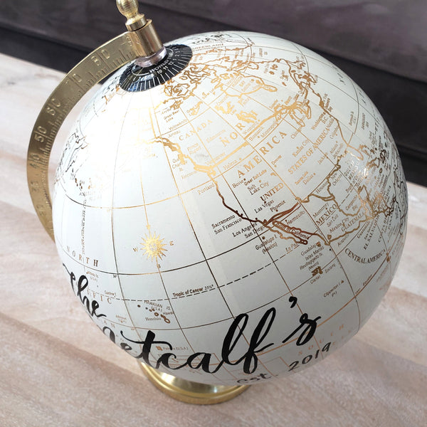 Gold globe with custom text