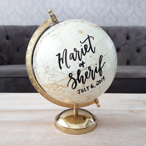 Personalized Gold Globe for wedding guest book