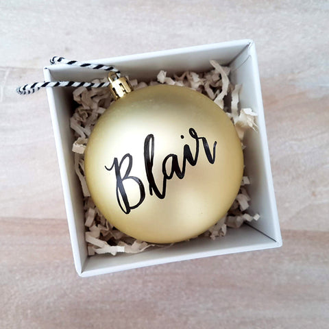 "3.25"" Personalized Gold Bauble"
