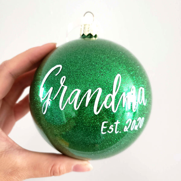 "4"" Green Glitter Ornament"