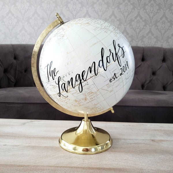 Wedding Guest Book Globe with established date