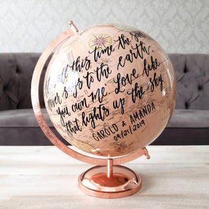 "Large 12"" Rose Gold Globe"