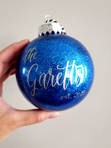 Blue Glitter Personalized Christmas Ornament
