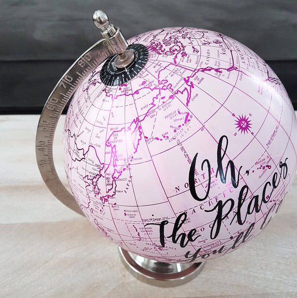 Pink world globe with custom quote