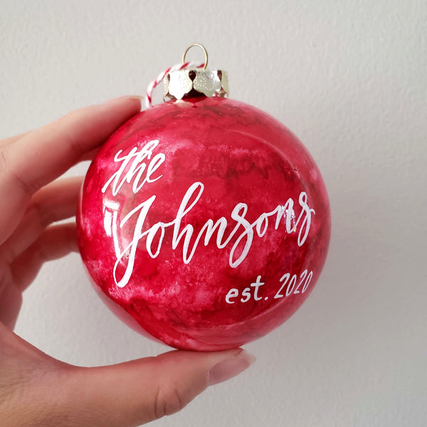 "3.25"" Personalized Red Marble Bauble"