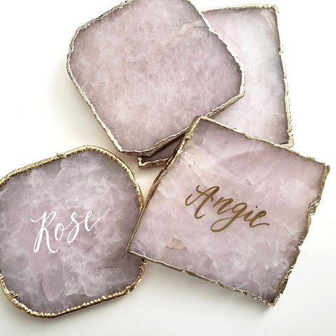 Personalized Rose Quartz Coaster