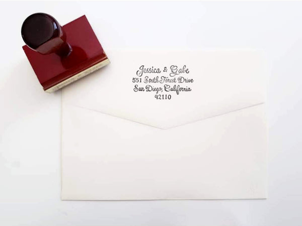 address stamp with calligraphy