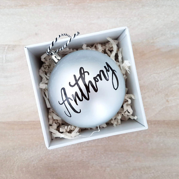 "3.25"" Personalized Silver Bauble"